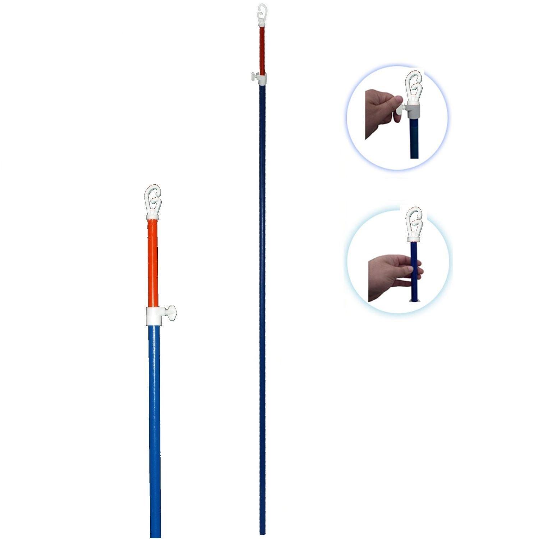 2 x Metal Telescopic Heavy Duty Clothes Washing Line Prop Adjustable Pole Extending 2.4 Meter UK