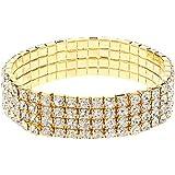 Bracelet élastique couleur OR 4 rangées de diamants cristal