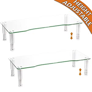 2 Pack Computer Monitor Riser with Height Adjustable Multi Media Desktop Stand for Flat Screen LCD LED TV, Laptop/Notebook/Xbox One,HD01T-201