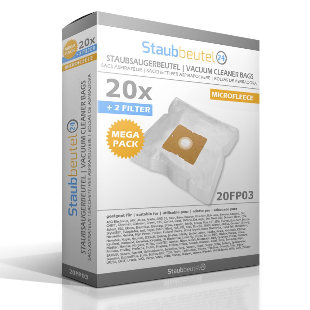 20 Staubsaugerbeutel Filter passend f/ür Progress Stuttgart PC 2361 PC 3716 ua.