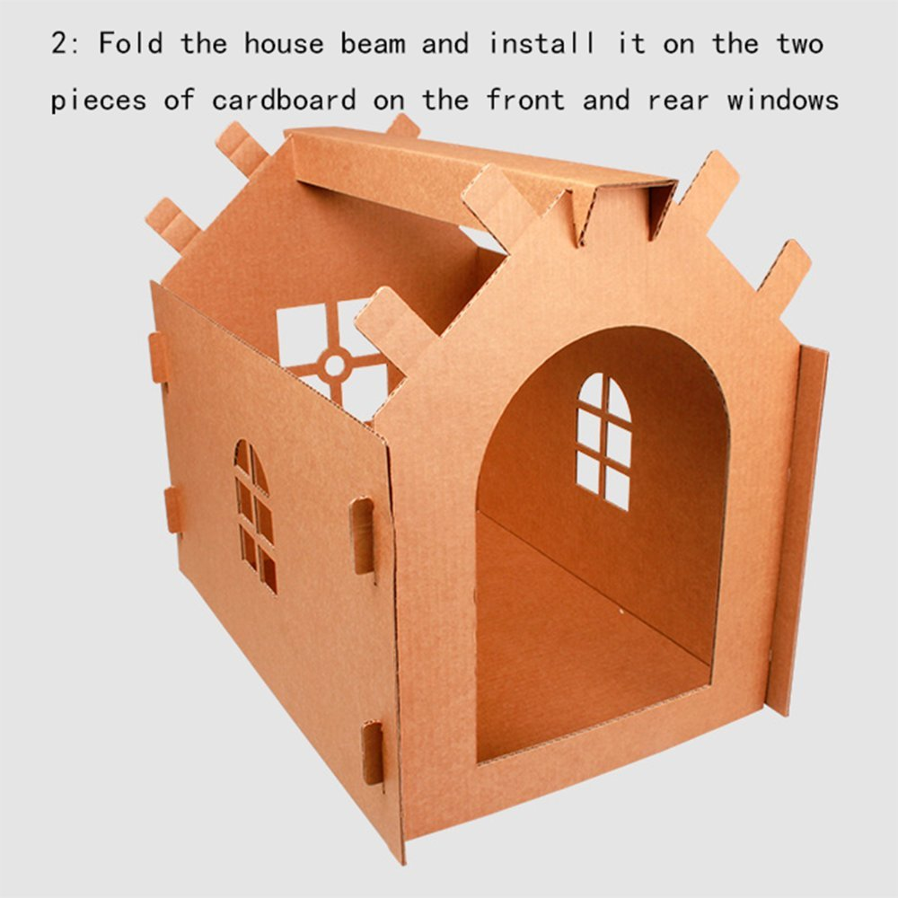 L&XY Casa De Gato Corrugado Casa De Gato Gato De Juguete Cartón Reciclable DIY Casa De Apartamento Montado Centro De Actividad De Gato: Amazon.es: Hogar