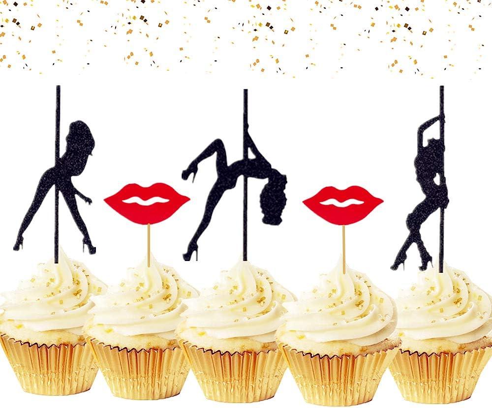 LaVenty 29 PCS Glittery Bachelor Party Cupcake Toppers Female Stripper Cupcake Toppers for Bachelorette Party Hen Party Decor