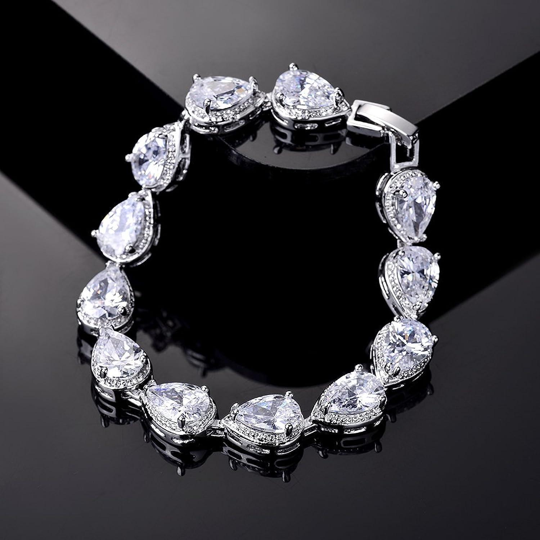 MASOP Swarovski Element Teardrop Cubic Zirconia Tennis Bracelet for Women mV5Wg0iBCK