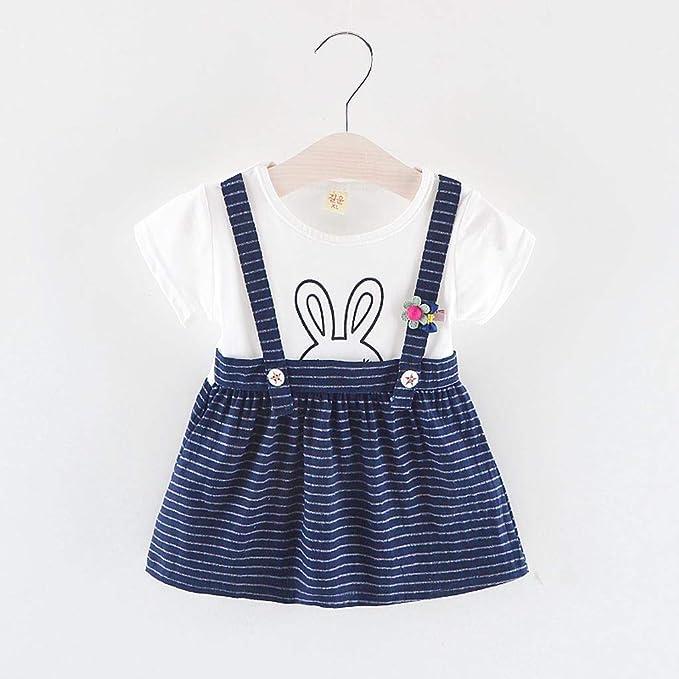 32420fa9799 Amazon.com  MOVEmen Toddler Kid Baby Girl Cartoon Rabbit Striped Printed  Party Princess Dress Beach Dress Strap Dress  Clothing