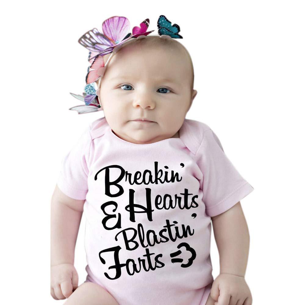 Newborn Infant Baby Girl Short Sleeve Letter Print Romper Jumpsuit Clothes,2019 New