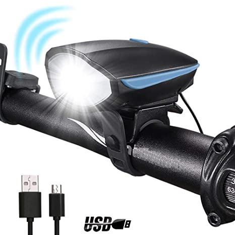 Inditradition Bicycle Bike LED Headlight and Horn | 2 in 1 Waterproof Device | 140 DB Sound, 250 Lumen Light