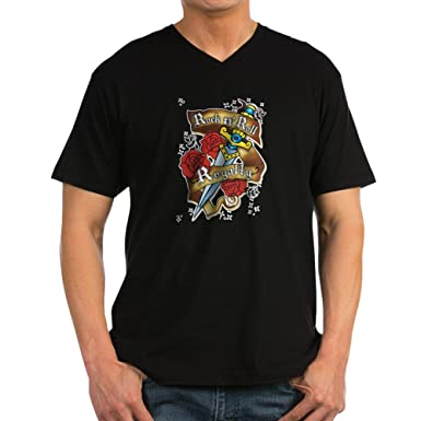 1599ceba Amazon.com: Royal Lion Men's V-Neck T-Shirt (Dark) Rock N Roll ...