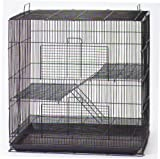 "NEW 3 Levels Ferret Chinchilla Sugar Glider Rats Animal Cage 24""Length x 16""Depth x 24""Height *Black*"
