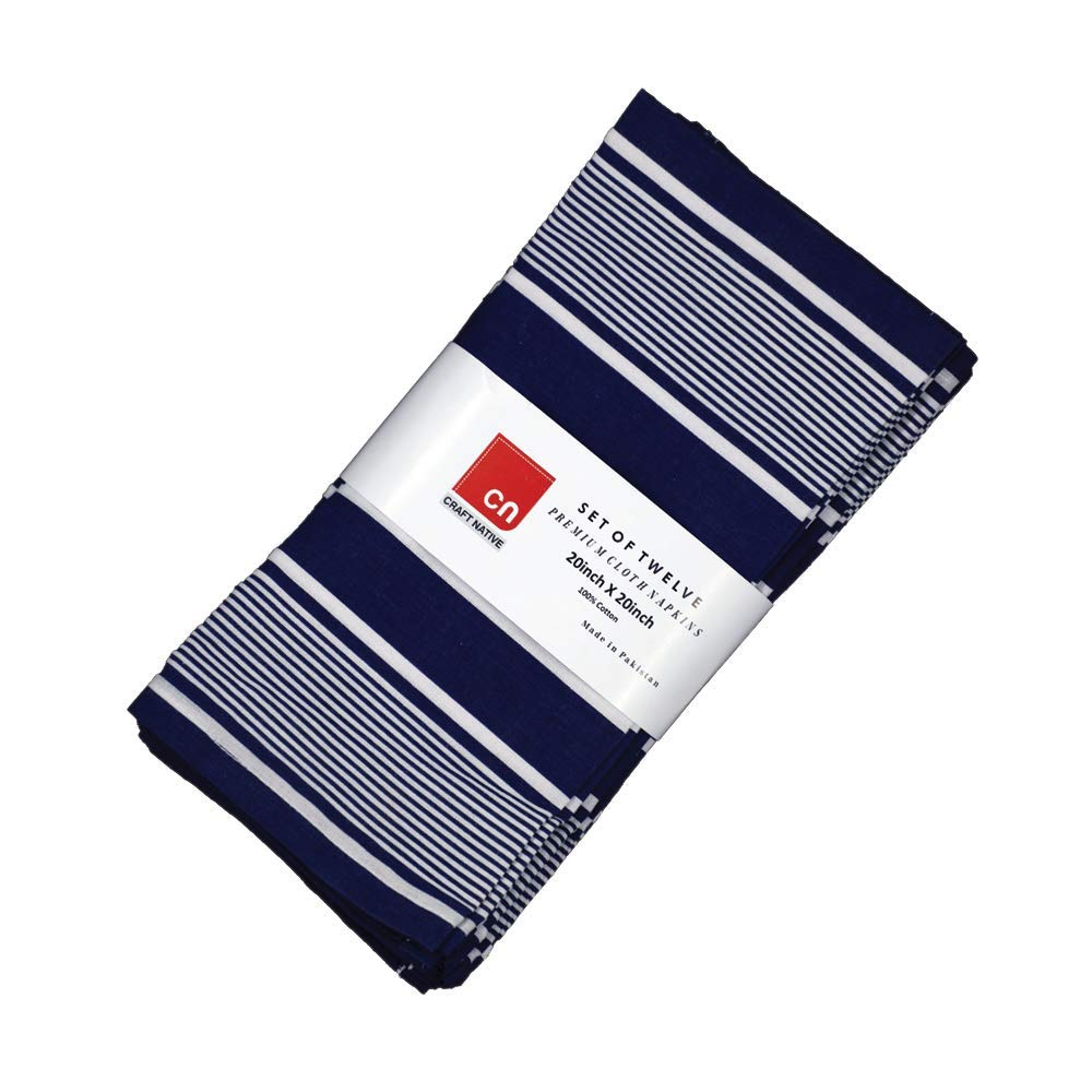Cloth Napkins Set of 12 Cotton White and Navy Blue Stripe Fabric Linen Napkins Oversized Cotton Napkins Made of Pure Cotton Fabric 20 X 20 Inch Reusable Napkins Used as Dinner Napkins