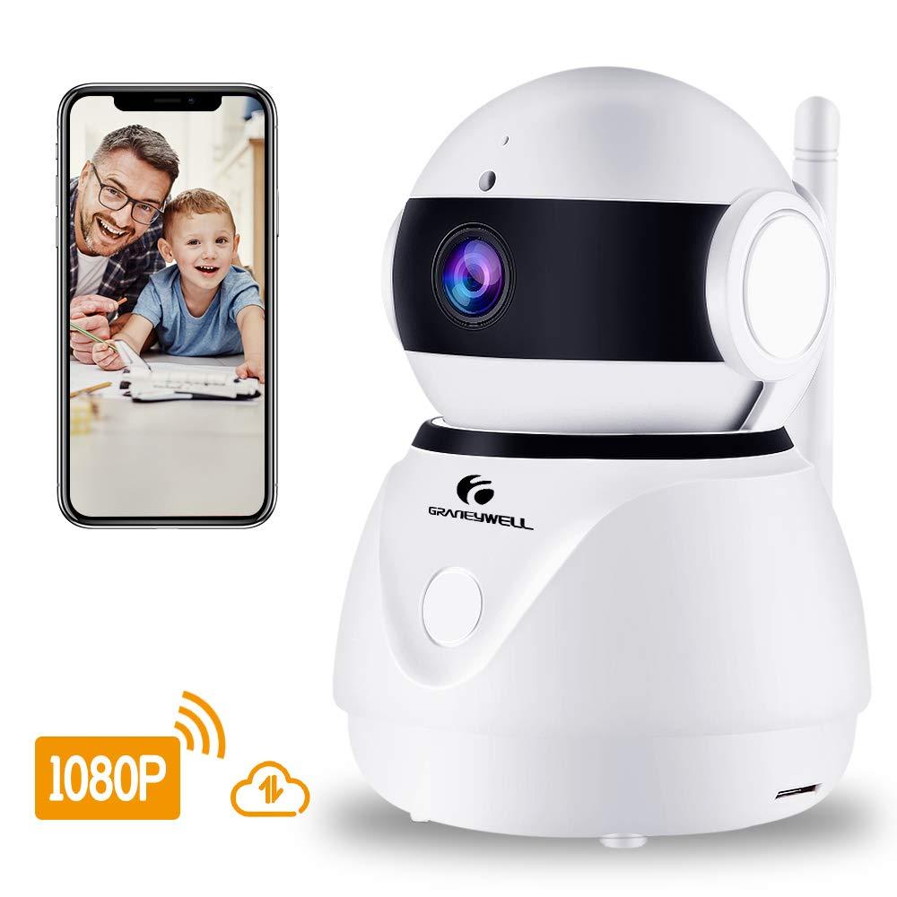Wireless Security IP Camera,1080p WiFi Home Surveillance Video Camera Work Alexa Echo Pet/Elder/Baby/Nanny/Home/Office Monitor Pan/Tilt Two -Way Audio&Night Vision (IPC61) by GRANEYWELL