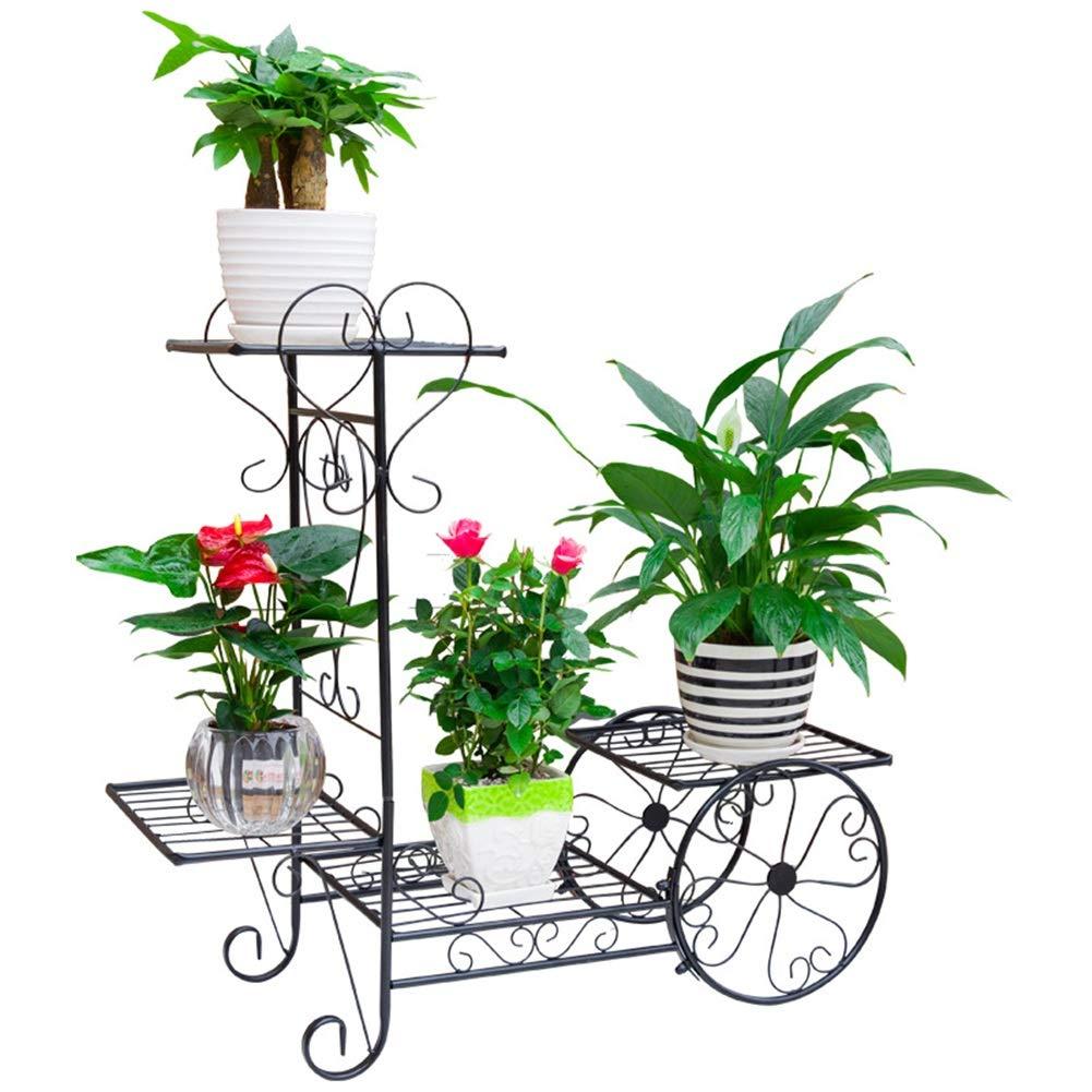 Exing Flower Stand, Multi-Storey Interior Decorazione per Balcone Mensola in Ferro battuto in Legno massello Spazio espositivo da Terra (colore   Un, Dimensione   59.5  56.5  11.5CM)