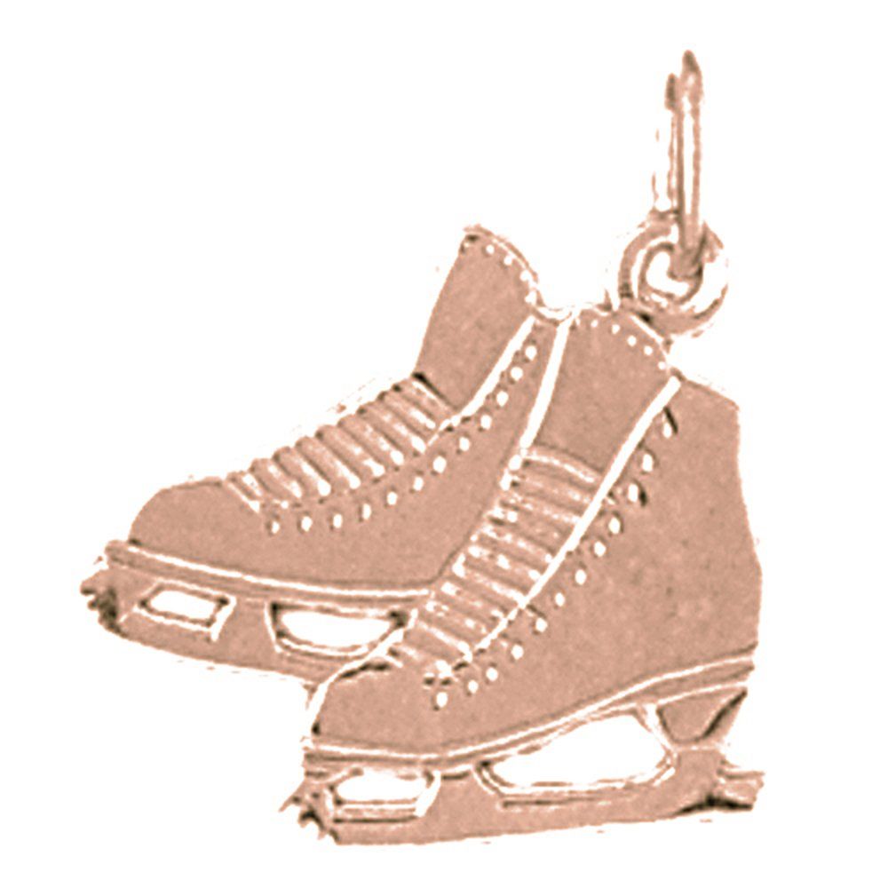 Jewels Obsession Ice Skate Necklace 14K Rose Gold-plated 925 Silver Ice Skate Pendant with 16 Necklace