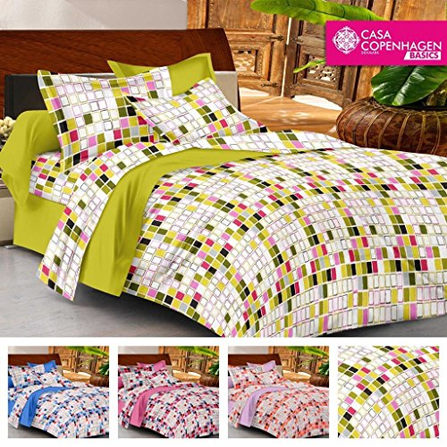 Casa Copenhagen- Basic 144 Thread Count 100% Cotton Double Bedsheet With 2 Pillow Cover- Green,Yellow,White & Red…