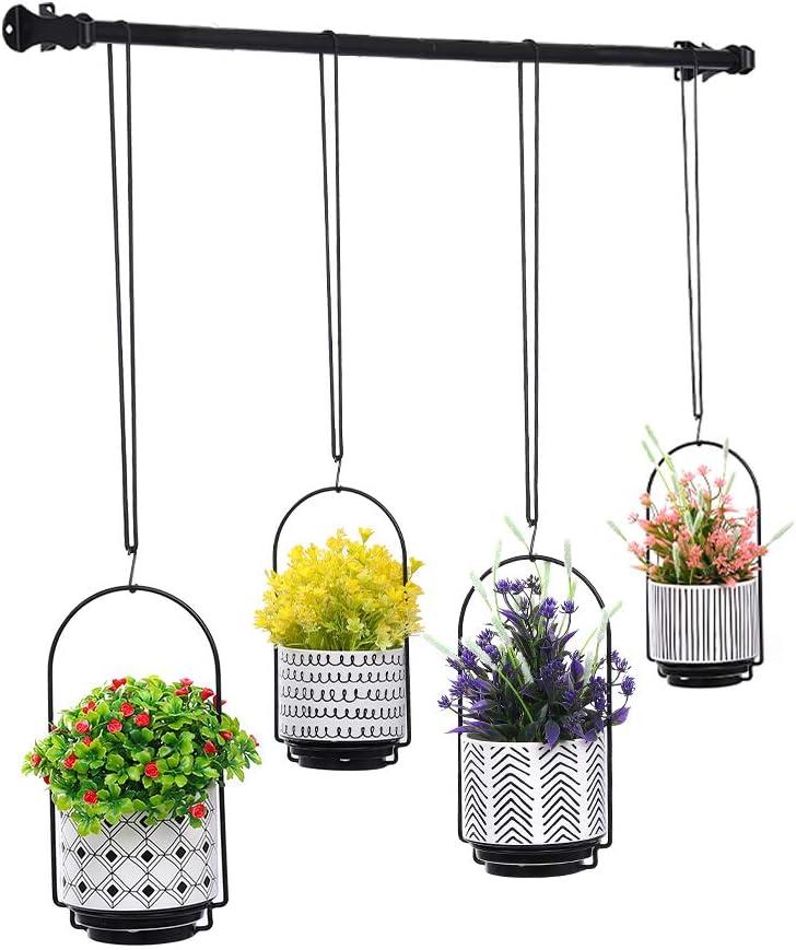 Hanging Planters for Window with 4 Plants Pots - Wall | Window Plant Hanger Indoor Herb Garden