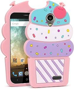 ZTE Maven 3 Case, ZTE Maven 2 Case, ZTE Overture 3 Case, ZTE Prestige 2 N9132, Sonata 3 Z832 Z831 Case Cute 3D Cartoon Teens Girls Women Soft Silicone Rubber Cover for ZTE Avid Plus Z828 / Avid (Pink)