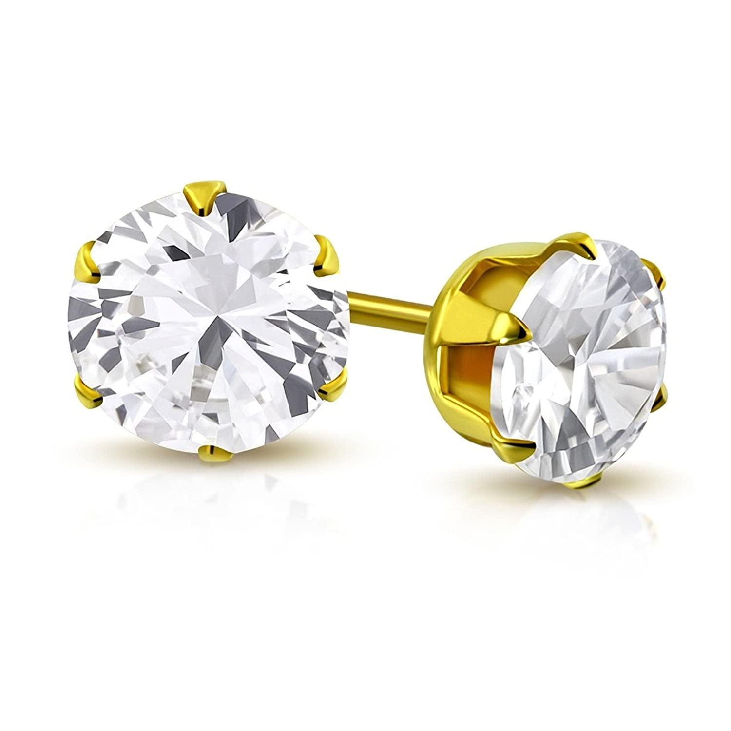 Stainless Steel Gold Color Plated Prong-Set Round Circle Stud Earrings with Clear CZ (pair)