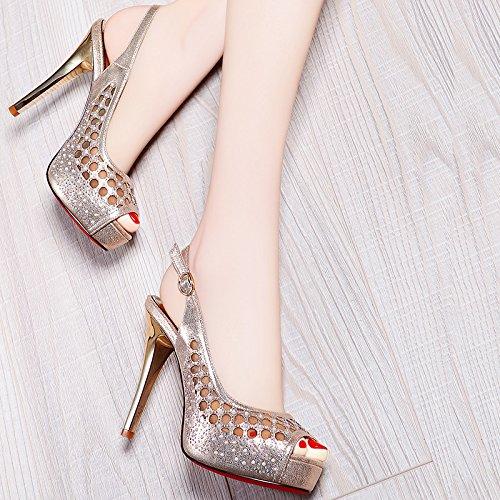 Des SHOESHAOGE Chaussures Net Exposés Fils Femme Taiwan Avec Bouche Fine De Talons Chaussures Femme Imperméables Hauts 40 Sandales De Poisson 5 UK3 EU36 À qCXzrqw