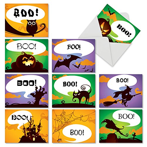 Boo-Tiful Notes: 10 Assorted Blank Halloween Note Cards Featuring Sweetly Spooky Seasonal Halloween Images, w/White Envelopes. M6688HWB