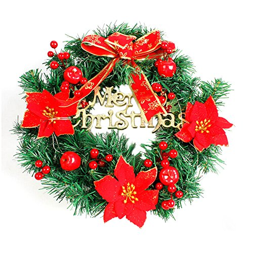 DIY Merry Christmas Wreath Garland,Outsta Window Door Decorations Bowknot Ornament Pendant 15.7inches 40cm (Red) -