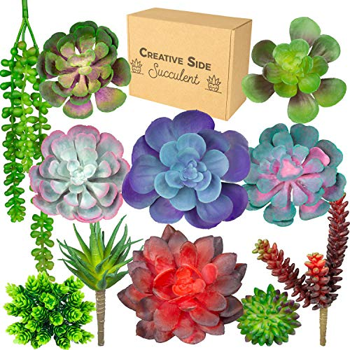 Creative Side Artificial Succulent Plants - 11 Soft Realistic Lifelike - Colorful Fake Succulent Plants Arrangement, Mini Faux Succulents, Large Succulents Unpotted Plant For Planters And Indoor Decor (Silk Plant Centerpiece)