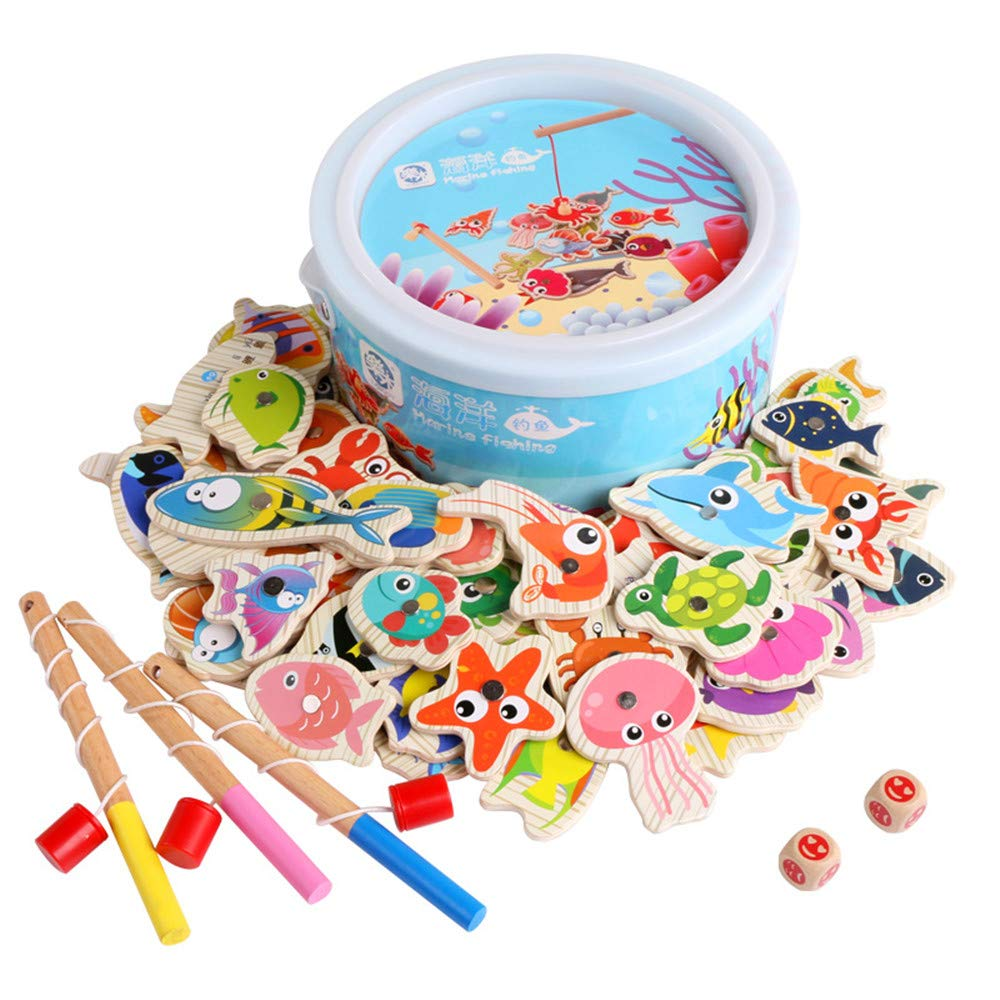60 Fishing Toys Children Boys and Girls Baby Puzzle Set Magnetic Toys