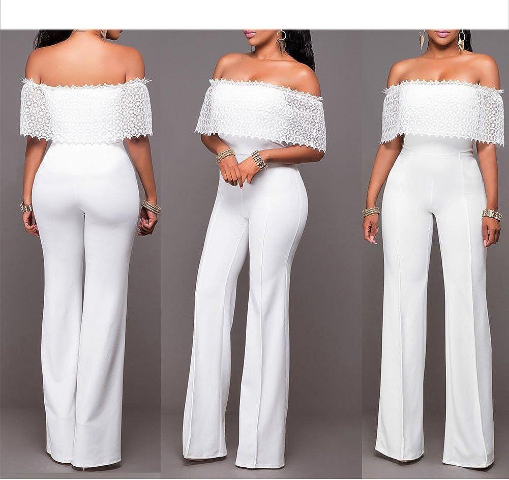 Petalum Damen Jumpsuit Elegant Business Off Shoulder Hohe Taille Weites Bein Maxihose Abendmode