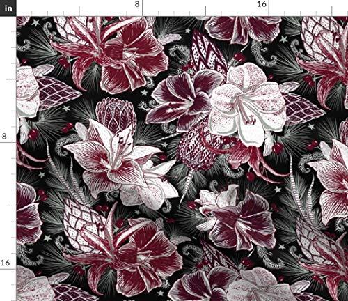 Floral Fabric - Elegant Holiday Bouquets On Black Botanical Seasonal Garden Winter Purple Protea Print on Fabric by The Yard - Sport Lycra for Swimwear Performance Leggings Apparel Fashion