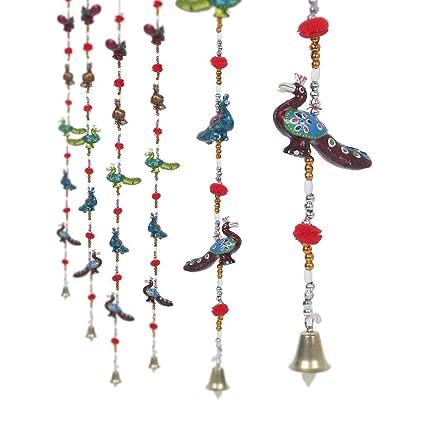 Pindia 'Peacock' Rajasthani Handcrafted Paper Mache Door Hanging Set� (5 cm x 5 cm x 96 cm, Set of 2)