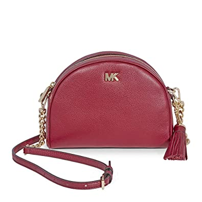 d72472b6dec363 Michael Kors Ginny Pebbled Leather Half-Moon Crossbody Bag- Maroon: Handbags:  Amazon.com