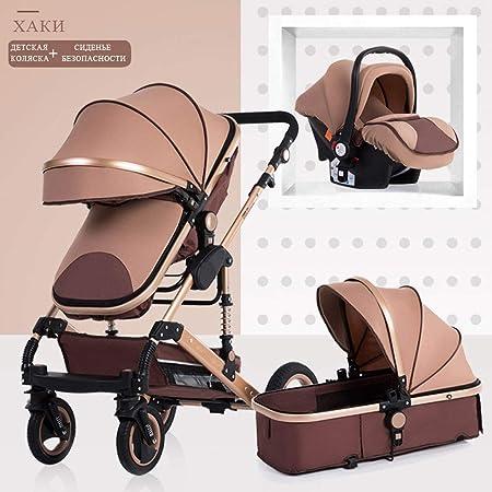 Opinión sobre Cochecito de bebé DDPD 3 en 1 cochecito de bebé neonatal alto paisaje cochecito de cuatro estaciones cochecito de bebé amortiguación plegable carrito de bebé (maroon-m)