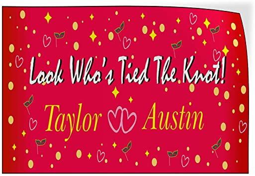 Custom Door Decals Vinyl Stickers Multiple Sizes Look Whos Tied The Knot Bride Groom Lifestyle Wedding Outdoor Luggage /& Bumper Stickers for Cars Pink 34X22Inches Set of 10