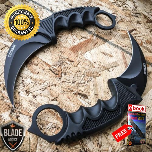 2 PC TACTICAL COMBAT KARAMBIT KNIFE Survival Hunting BOWIE Fixed Blade SHEATH For Hunting Tactical Camping Cosplay + eBOOK by MOON KNIVES -