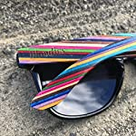Woodies Rainbow Wood Sunglasses with Black Polarized Lenses 16 Handmade from Rainbow Wood (50% Lighter than Ray-Bans) Includes FREE Carrying Case, Lens Cloth, and Wood Guitar Pick Polarized Lenses Provide 100% UVA/UVB Protection