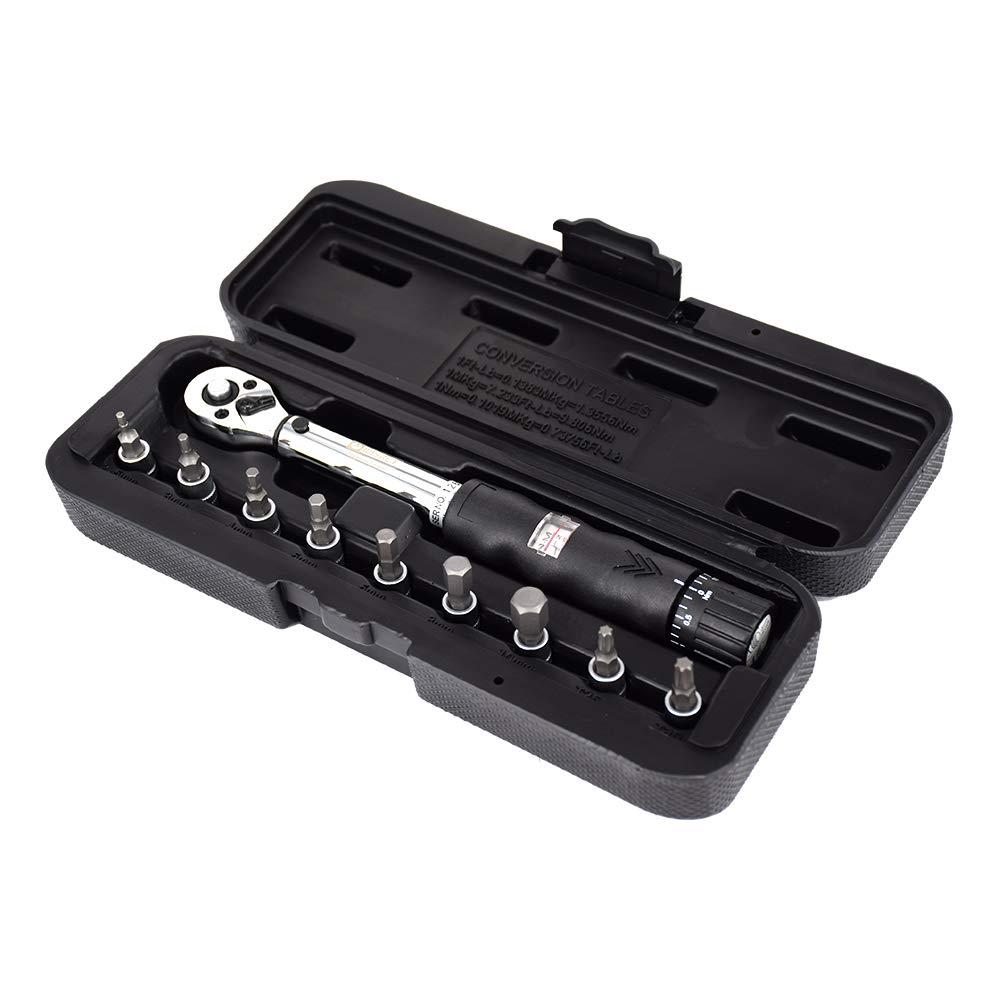 Festnight 1//4DR 2-14 Nm Set di chiavi dinamometriche per biciclette Set di strumenti di riparazione per biciclette Chiave a cricchetto meccanico per chiavi dinamometriche