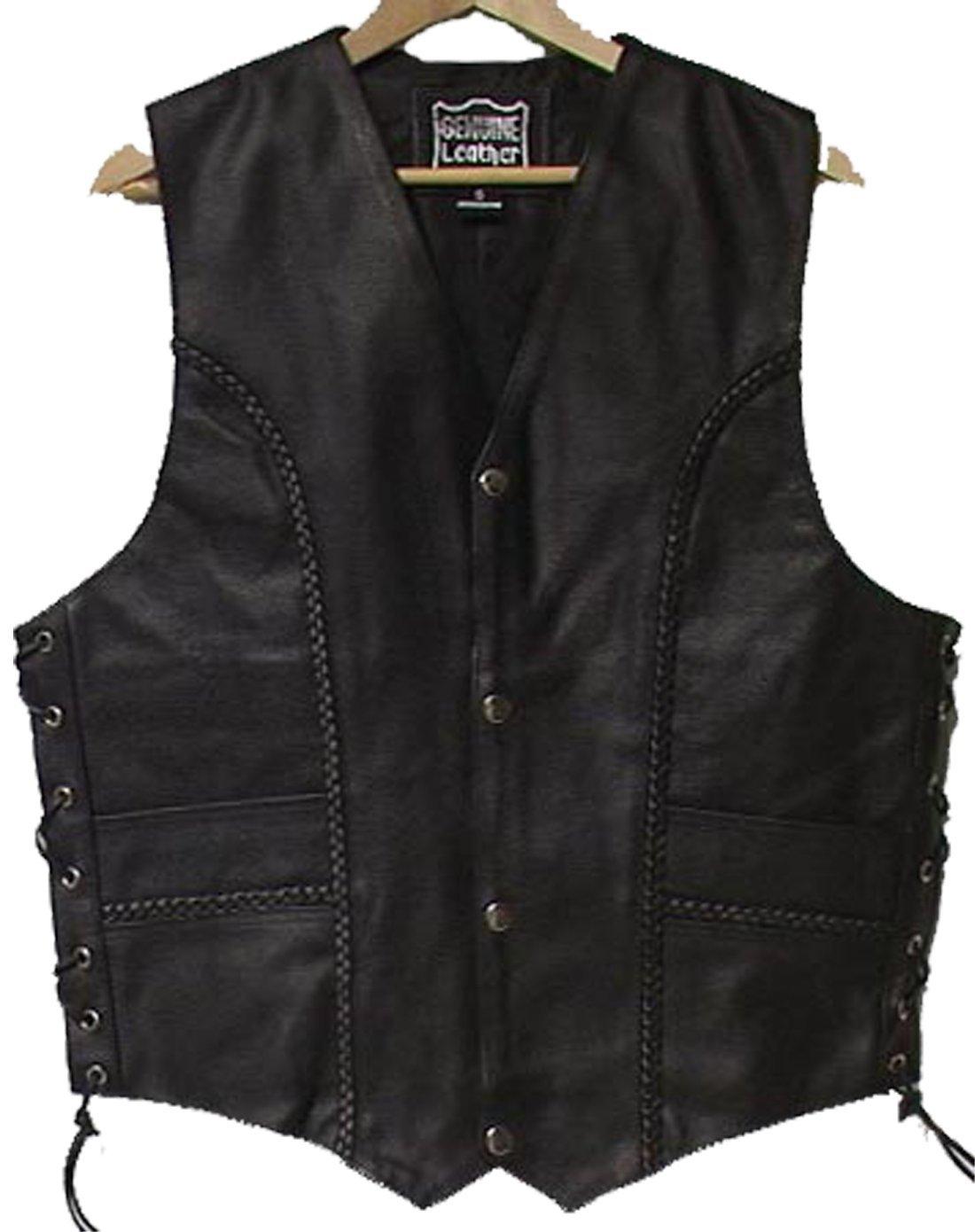 Genuine Cowhide Leather Biker's Vest Black # 9692 (2XL) IGI Canada