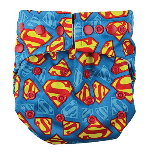 Bumkins Cloth Diaper Snap All-In-One (AIO) or Pocket, 7-28lbs, Superman Bumkins All In One Diapers