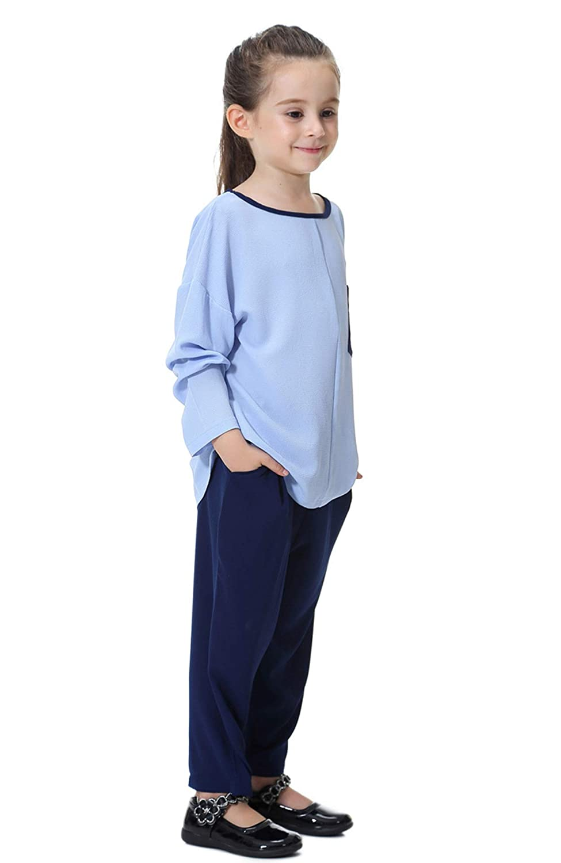 GladThink Girls Islamic Southeast Asia Loose Shirt Round Neck with Harem Pants Set Dress