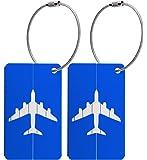 Kofferanhänger aus Metall mit Namensschild und Flug-Motiv 2 Stück – Blau metallic