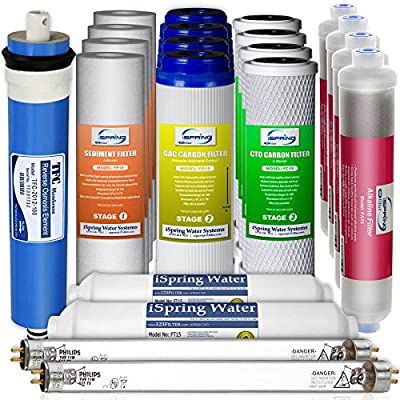 iSpring F21KU100 2-Year Replacement Filter Set for 7-Stage 100GPD UV Alkaline Reverse Osmosis Water Filter, Fits iSpring RCC1UPAK RCC7AKUV (21pcs 4SED 4GAC 4CTO 2T33 1MC1 4AK 2UVF)