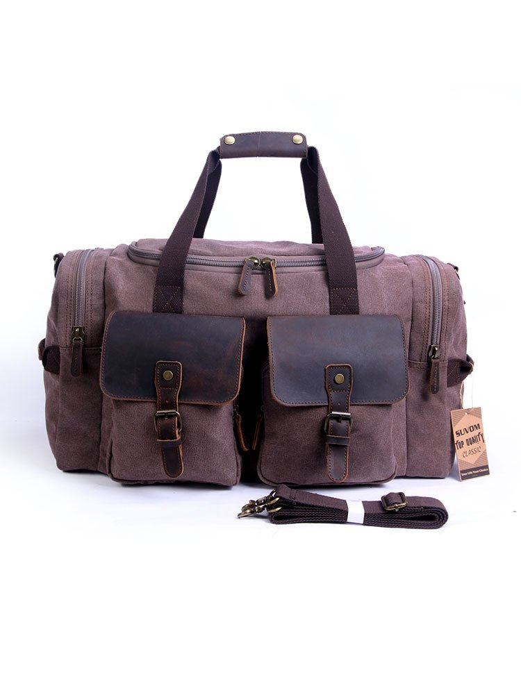 SUVOM Canvas Duffle Bag Leather Weekend Bag Carry On Travel Bag Luggage Oversized Holdalls for Men and Women(Chocolate)