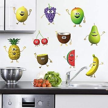 decalmile Wandtattoo Küche Obst Wandsticker Emoji Banane Zitrone Mango  Wandaufkleber Küche Esszimmer Kinderzimmer Schlafzimmer Wanddeko