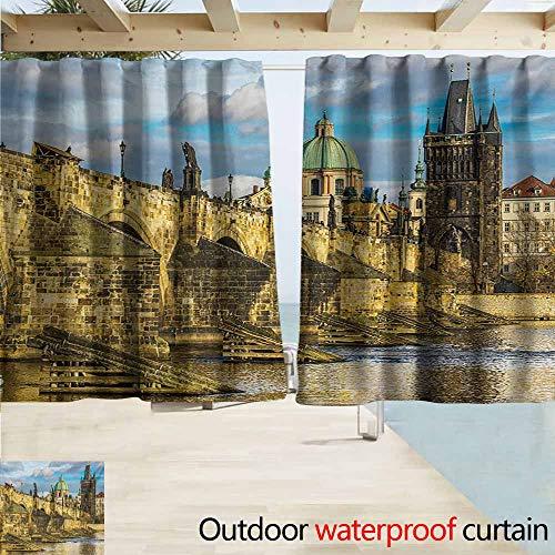 AndyTours Rod Pocket Top Blackout Curtains/Drapes,Landscape Prague Charles Bridge Castle European Famous Touristic Place Landmark Cityscape,Simple Stylish Waterproof,W72x72L Inches,Multicolor ()