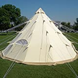 Qexan TIPI-500 glamping tent for 10 persons 100% Cotton canvas (Size 500X500x300CM)