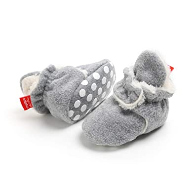 Unisex Newborn Winter Boots Warm Stripe Bootie Non-Slip Sole Soft Stay On Ajustable Bootie Sock