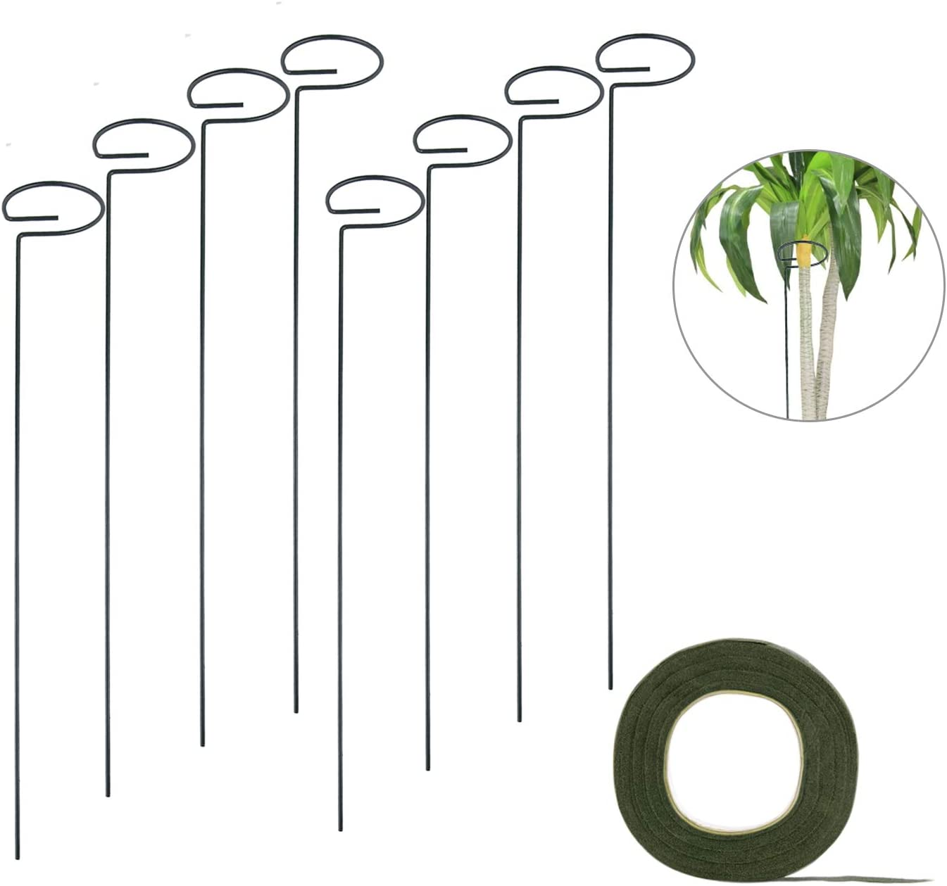 QUACOWW 8 pcs Plant Support Stakes,Garden Flower Support Stake,Single Stem Plant Support Stake,Plant Support Ring with 27 Yard Green Flower Paper Tape for Flowers Tomatoes(40cm/16in)