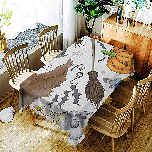 XXANS Waterproof Table Cover,Halloween,Magic Spells Witch Craft Objects Doodle Style Illustration Grunge Design Skull,Modern Minimalist,W50x80L Multicolor -