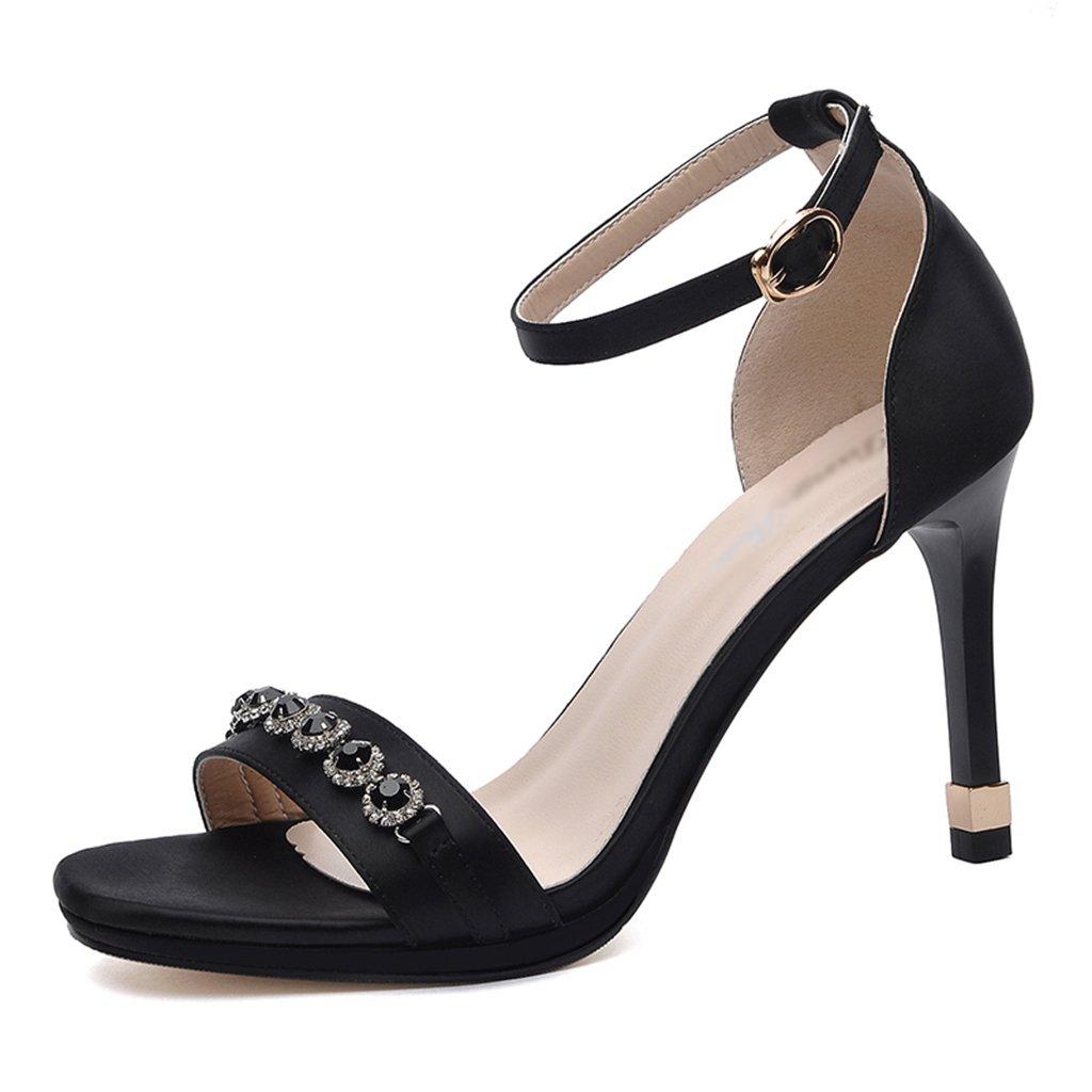 Damenschuhe HWF Sandalen weibliche Stiletto Heels Sommer sexy einfache Frauen Schuhe (Farbe   Schwarz größe   34)