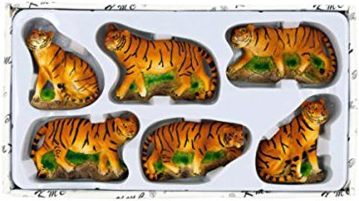 Black Duck Brand Decorative 6-Piece 3-D Safari Tiger Refrigerator Magnets