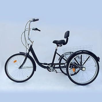 """Prit2016 triciclo adulto con cesta 24 """"3 ruedas 6 velocidades ajustable, ..."""