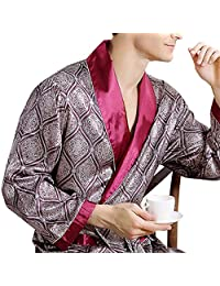 BellyLady Men's Comfortable 100% Silk Satin Robe Bathrobe Luxury Sleepwear Loungewear